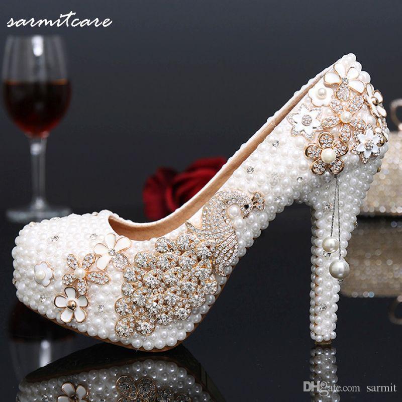 3 '' 4 '' 4.7 '' 5.5 '' Full Imitatie Pearl bedekt met Rhinestones Platform Hoge Hakken Witte Trouwschoenen Jeweled Bridal Shoes Wedding Pumps