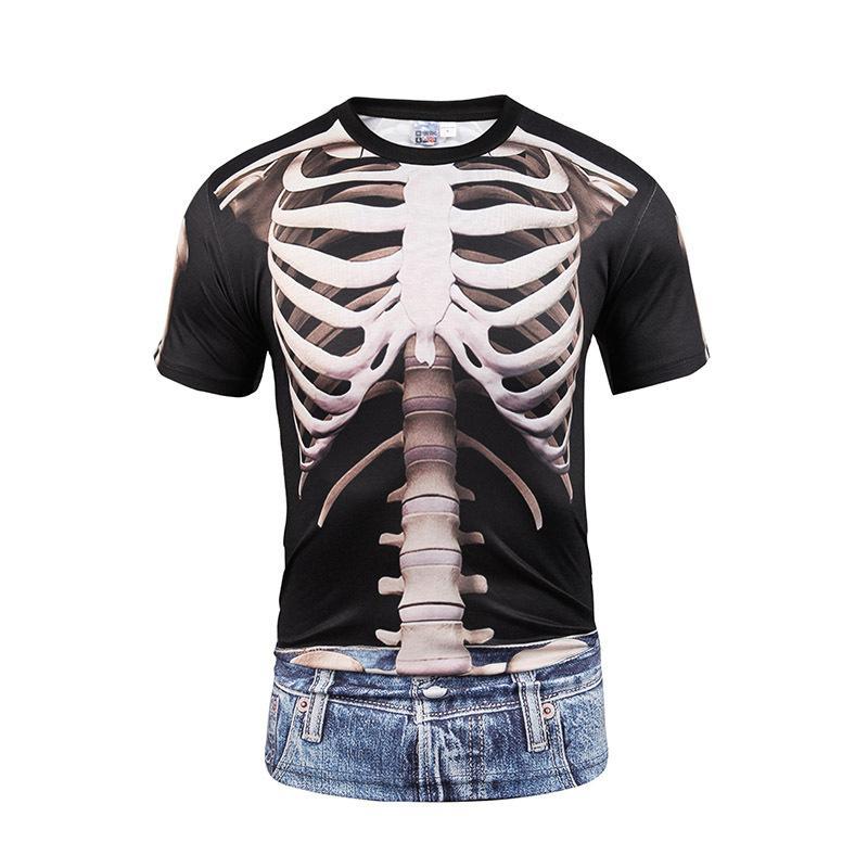Comercio al por mayor de impresión digital falso dos blusas 3D calaveras vivo vaquero T-shirt impresión par divertidos grandes códigos cortos