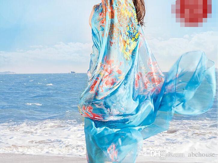 200 * 140 cm 2016 Impressão de Verão Cachecol De Seda Oversized Chiffon Mulheres Lenço Envoltório Sarong Protetor Solar Praia Cover Up Longo Capa Feminino