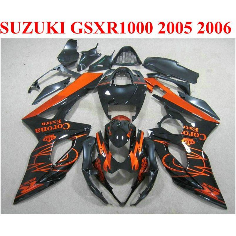 Personnaliser les pièces de moto pour SUZUKI GSXR1000 2005 2006 kit de carénage K5 K6 05 06 GSXR 1000 cuivre noir Corona ABS jeu de carénage EF67