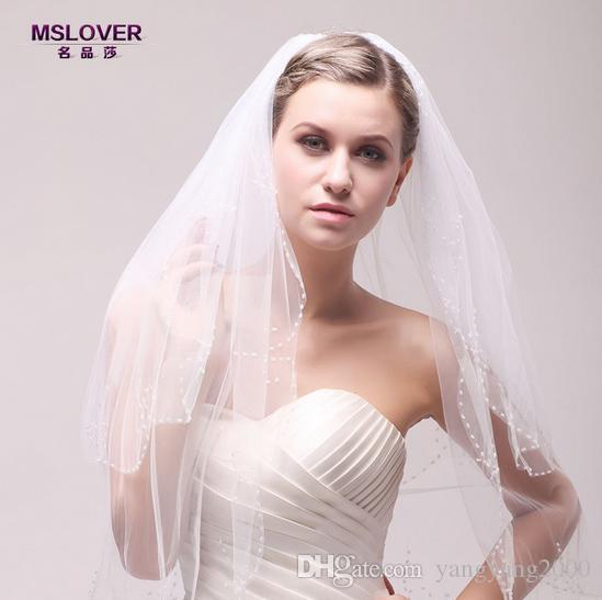 Atacado hot nupcial do casamento acessórios 100 cm mão pura costura pérola inlay strass borda dupla camada de véu de noiva TS120347