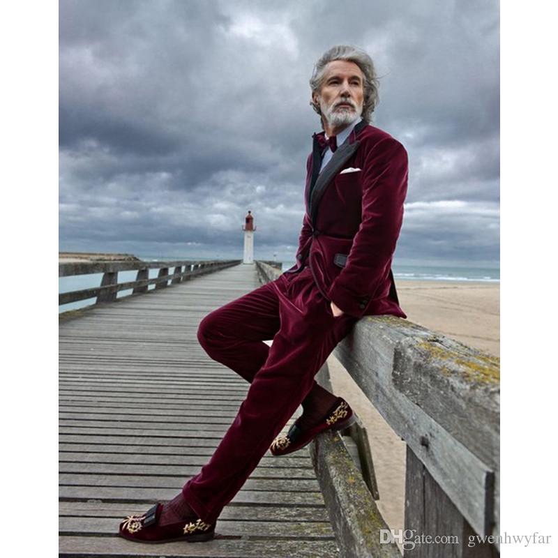 Burgund Velour 2 Stücke Neues Design Slim Fit Männer Anzug Jacke Hosen Hochzeit Prom Männer Anzüge Bräutigam Smoking Mode Abendessen Anzug