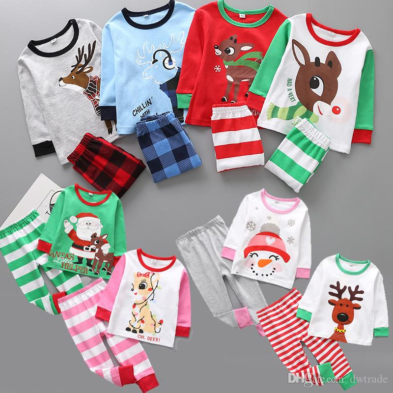 2017 أحدث الخريف الاطفال منامة بنين بنات 2 أجزاء عيد الميلاد الكرتون بيجامة pjs مجموعة أطفال البيجامة الأطفال الملابس