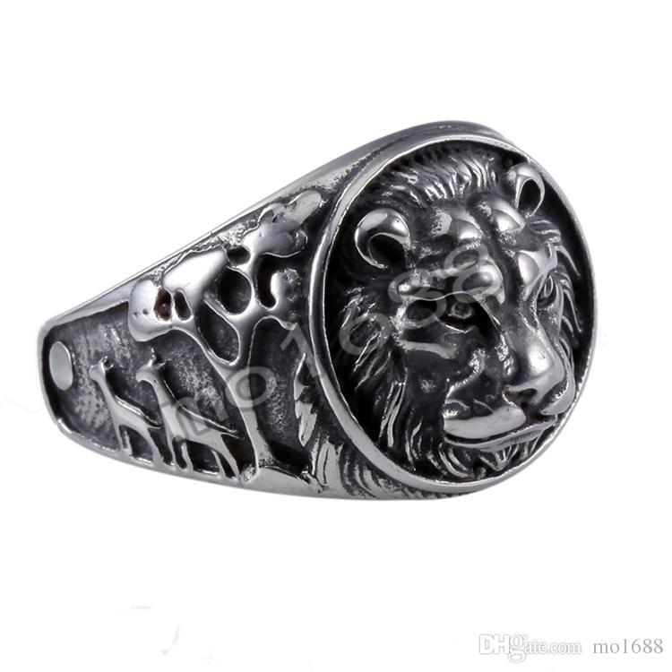 Lion King Mens 361L Stainless Steel Biker Rocker Gothic Vintage Black Ring Size 7-13