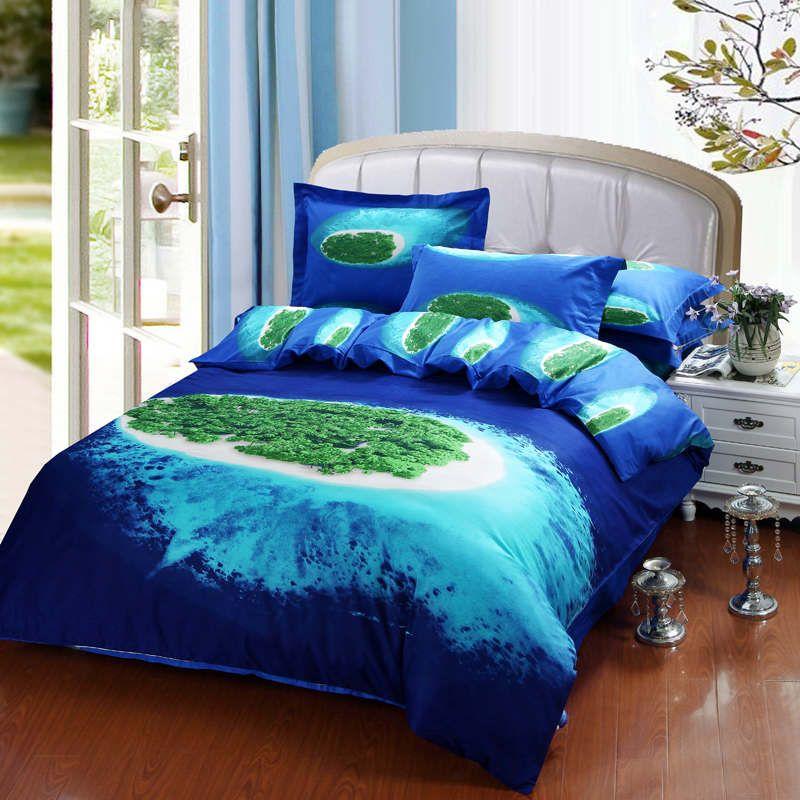 Good Designer Global Village Blue Bedding Bed Linens Egyptian Cotton Queen Oil  Painting Reversible Duvet Cover Flat ...
