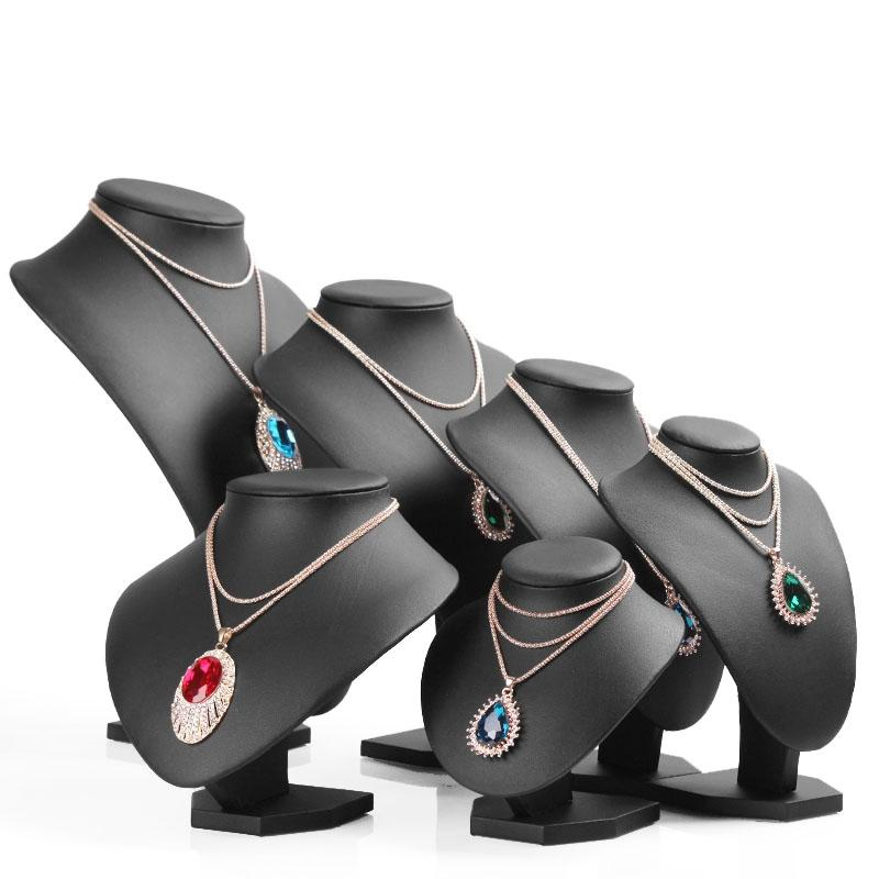 Zwarte PU-lederen hals plank modellen ketting hanger houder mannequin buste sieraden display stand show opslag