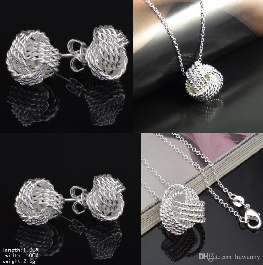 Top Grade Silver Jewelry Sets New Fashion Hot Sale Earrings Pendants Necklaces Set for Women Girl Gift Wholesale Free Shipping 0003YDH
