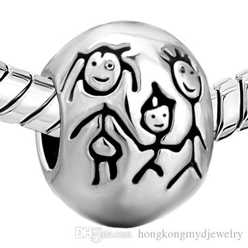 Rhodium Plating Mother Daughter Charm Love Family European Loose Beads For Pandora DIY Bracelet