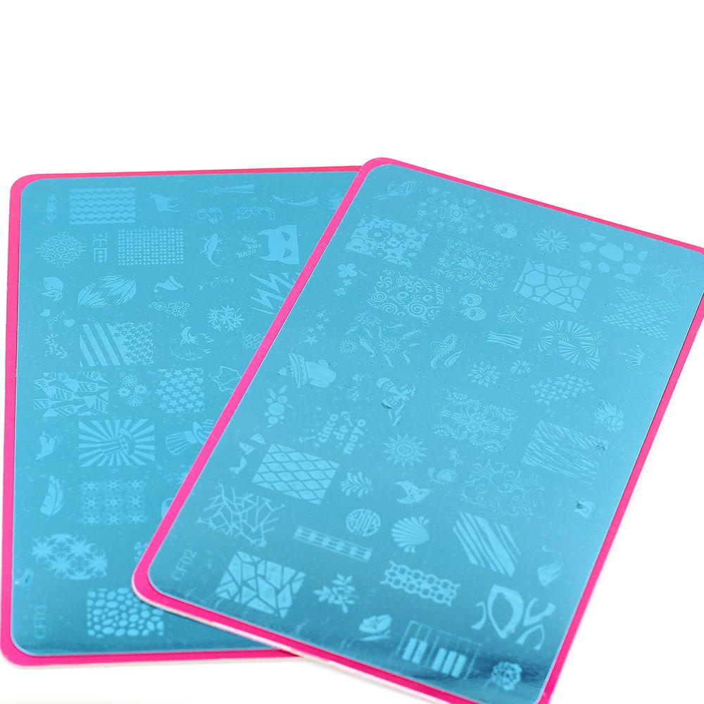 Płyty do tłoczenia paznokci 4 sztuk / partia stempel Plate Templing Paznokci Sztuka DIY Płyta Obraz Szablon 5.7 * 3.5 cali CF
