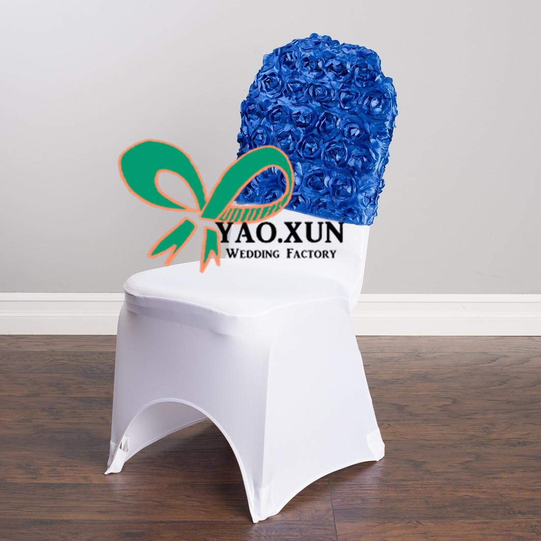 Cheap Price Satin Rosette Chair Cap \ Hood Used For Banquet Spandex Chair Cover Free Shipping