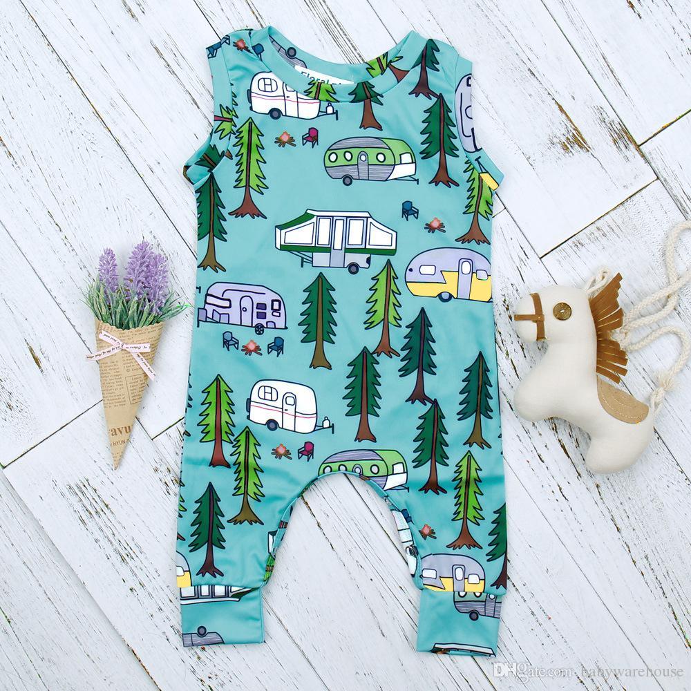 2018 neue Ankunft Sommer Neugeborene Kleidung Baby Jungen Kleidung Baumwolle Strampler Infant Kleinkind Sleeveless Forest Road Overall Kinder Kleidung Jungen