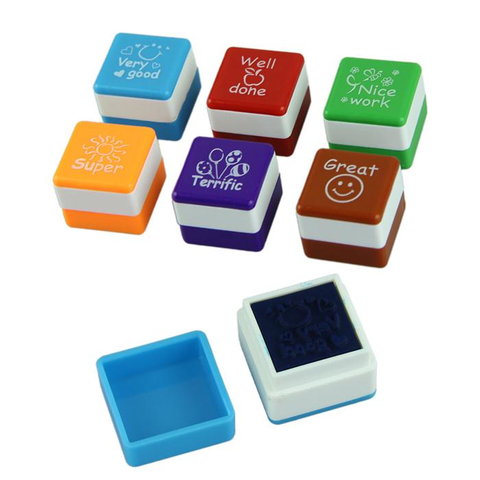 Free Shipping 2015 New Teachers Stampers Self Inking Praise Reward Stamps Motivation Sticker School Colorful Cartoon Stamps