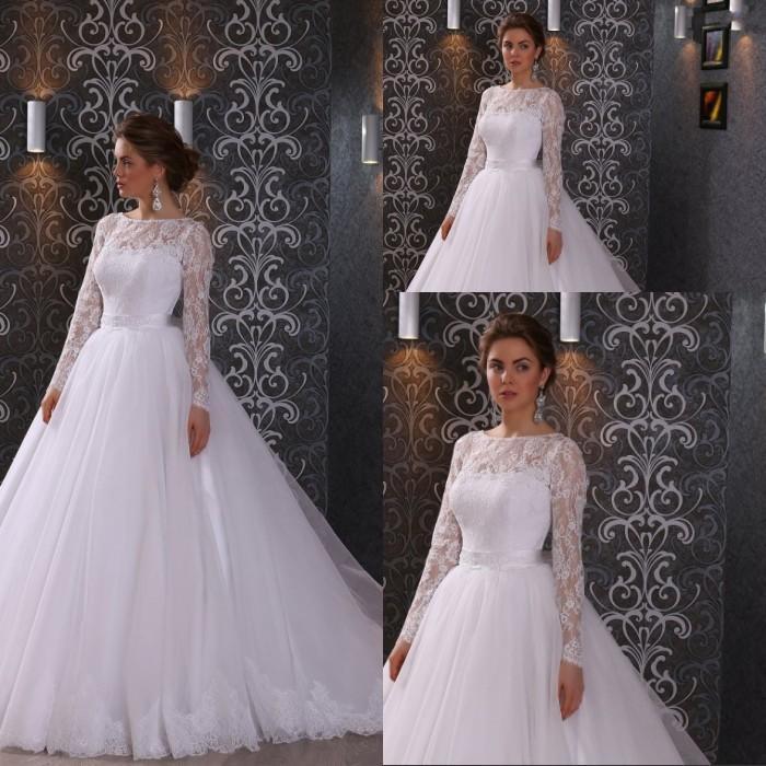 저렴한 가격 라인 스윕 기차 아이보리 오가닉 긴 쉬어 레이스 슬리브 웨딩 드레스 아플리케 레이스 브라 가운 큰 할인