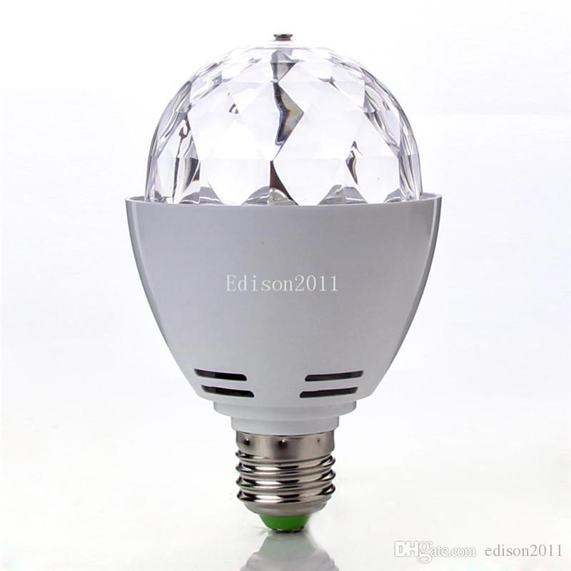 뜨거운 판매 3W E27 B22 RGB 조명 풀 컬러 LED 크리스탈 무대 조명 자동 회전 무대 효과 DJ 램프 미니 무대 조명