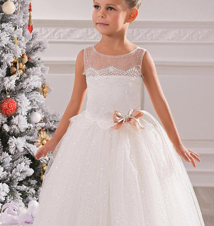 사랑스러운 보석 레이스 보우 볼 가운 그물 순수한 아기 소녀 생일 파티 크리스마스 공주님 드레스 어린이 소녀 파티 드레스 꽃 파는 소녀 드레스