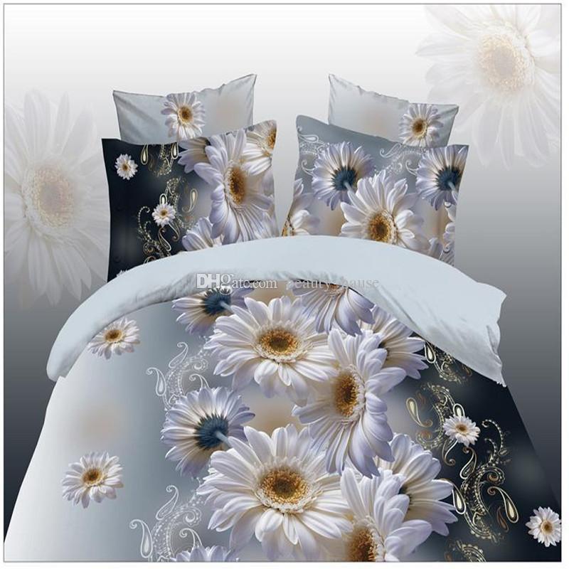 Ensemble de literie imprimée de marguerites fraîches florale, 2.0m roi taille housse de couette drap de lit taie d'oreiller