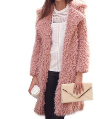 2017 new women Warm winter faux fur coat Fashion streetwear lapel long Wool coat casual autumn jacket outerwear 3 colors