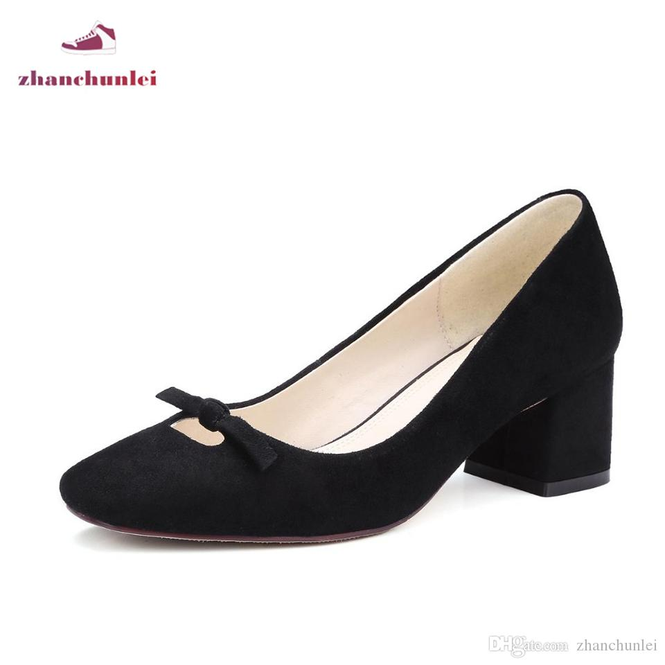 2017 bowtie sheep suede New hot fashion brand spring shoes square toe young med heels women pumps party office lady handmade sale Manchester sale brand new unisex store with big discount footaction cheap online view cheap online k8FeAZZ