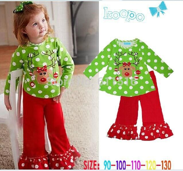In stock! New Super Nice Girl Christmas Green Little Reindeer T-shirt and Red White Dots Ruffle Pants Fall Suit Free shipping