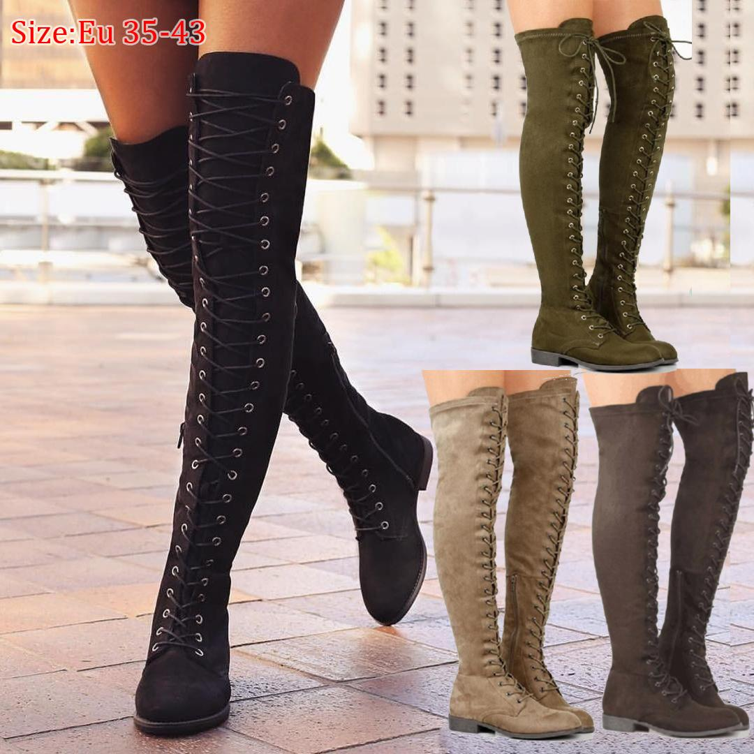 Women Fashion Boots Low Heels Shoes Shoelace Tie Over The Knee Long Lace Up Suede Booty Large Size 35 43 Womens Ankle Boots Leather Boots For Women