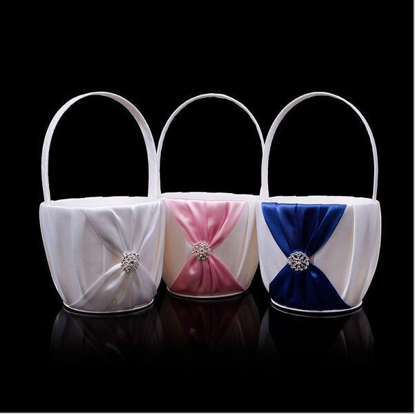 2020 New Fashion Royal Blue White Pink Bow Forniture per matrimoni Flower Girl Basket per forniture per matrimoni