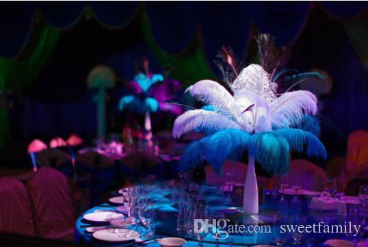 Commercio all'ingrosso 30-35cm Bianco nero rosso rosa blu giallo verde viola rosa Piume di struzzo Plumes per centrotavola centrotavola per matrimonio