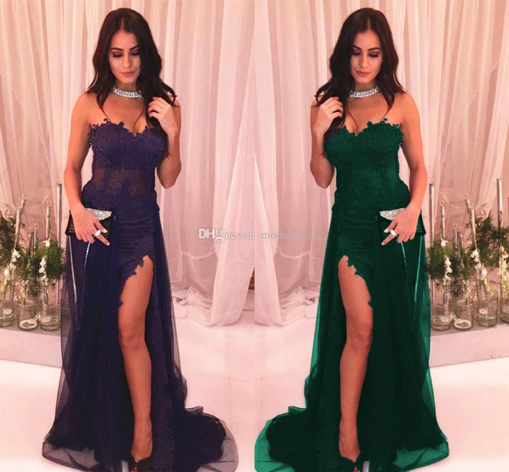 Sexy High Slit Purple Prom Dresses 2018 Sweetheart Appliques Side Split Dark Green Blue Modest Red Carpet Evening Party Gowns Cheap Custom