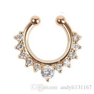 1pcs punk fake nose stud body jewelry silver indian fake piercing crystal nose gold ring for Christmas gift Free shipping N0005