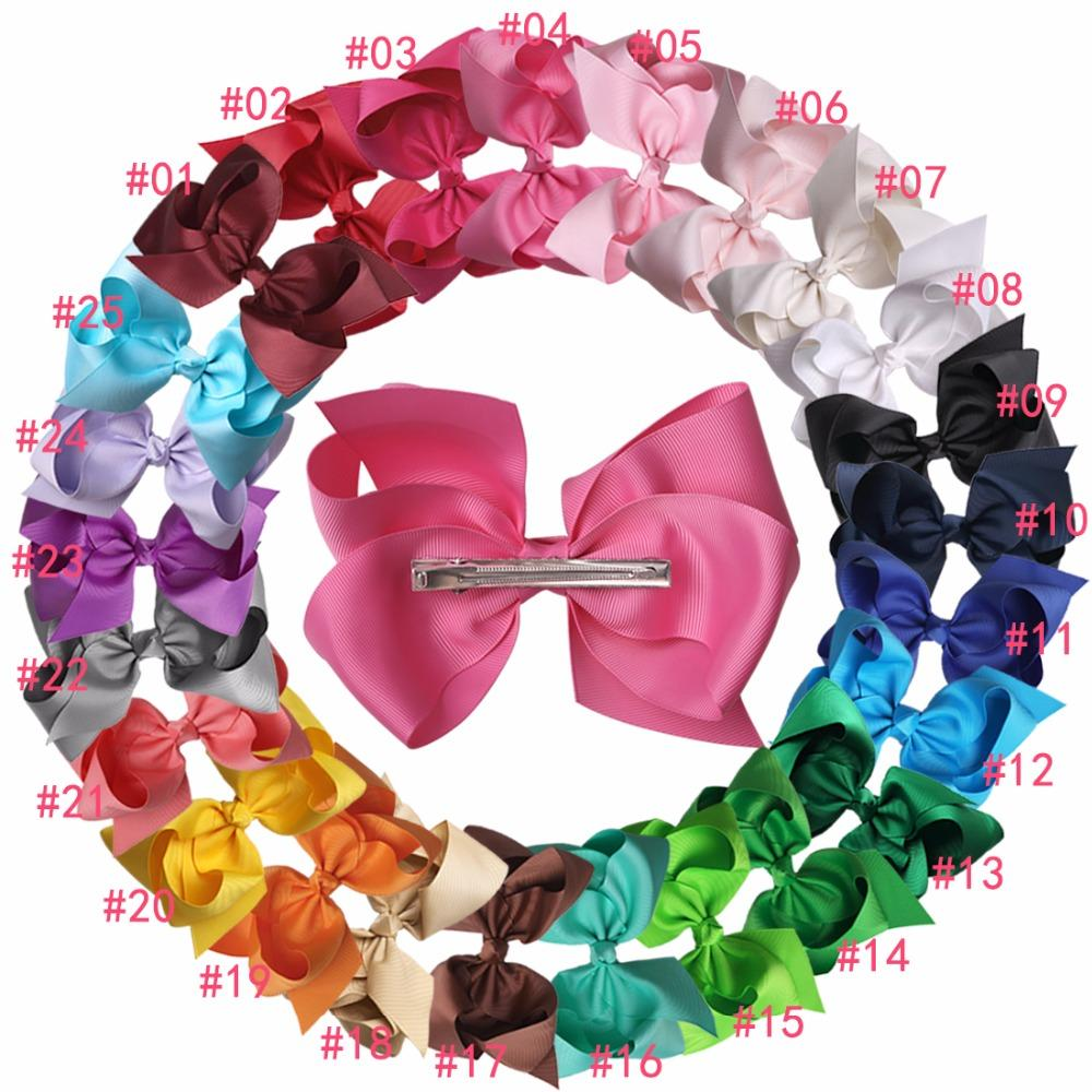Xima 32pcs /Lot 6inch Big Hair Ribbon Bows Kids Hair Accessories Hair Bows 2017 for Fashion Hairpins Children Women 25 Colors Solid Hairpin