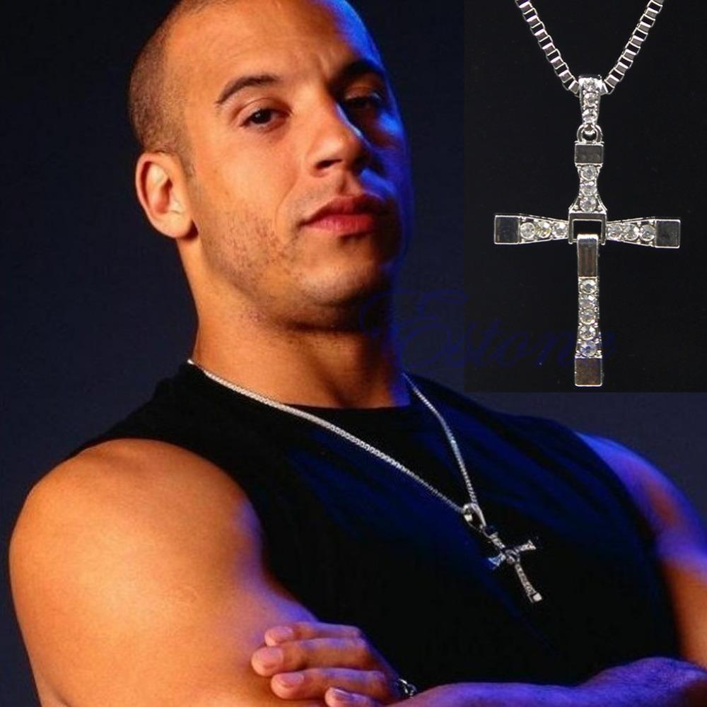Hot The Fast And Furious Mens 17 Rhinestone Cross Crystal Pendant Chain Necklace