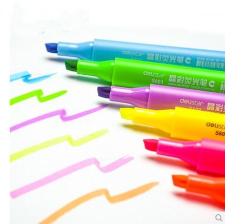 Free shipping Korea Stationery 6 Colors Highlighter Fluorescent Liquid Chalk Marker Pen for LED Writing Board