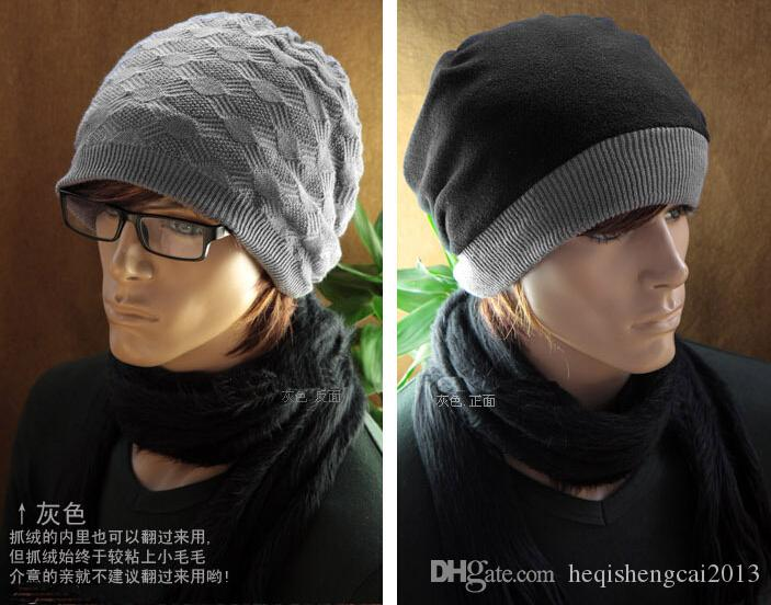 2016 ventes chaudes Hommes Femmes Polaire laine Fil mélangé Double surface chapeau Hip-hop cap tricot jacquard Avec capuchon épais 50 pcs