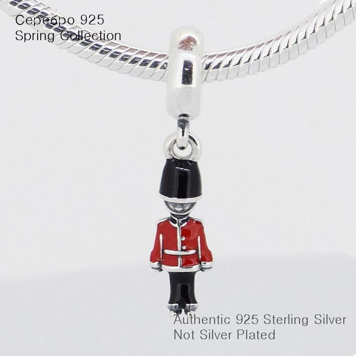 Se adapta a Pandora Charms Bracelet 925 Sterling Silver Bead Toy Soldier Silver Charm con Red Enamal Women DIY Jewelry Envío gratis