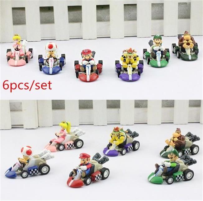 Super Mario Bros. Kart PULL BACK Car Figures PVC toys 1set= 6pcs 100sets/lot DHL free shipping