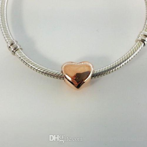 Rose gold plated Big Heart Charm beads S925 silver fits for pandora style bracelet free shipping H8ale 780137 h8