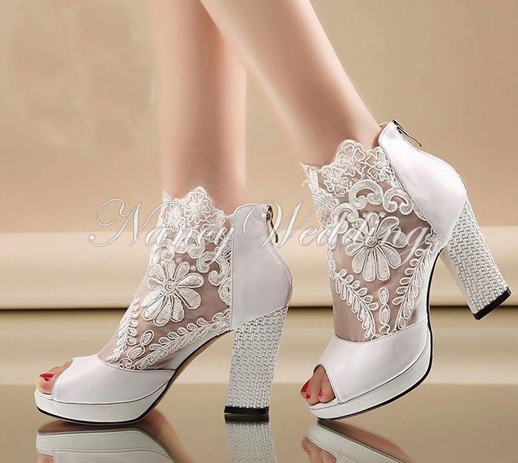 Nowa Moda Peep Toe Summer Wedding Boots Sexy Biały Koronki Prom Wieczór Party Shoes Bridal High Heels Lady Formal Sukienka Buty