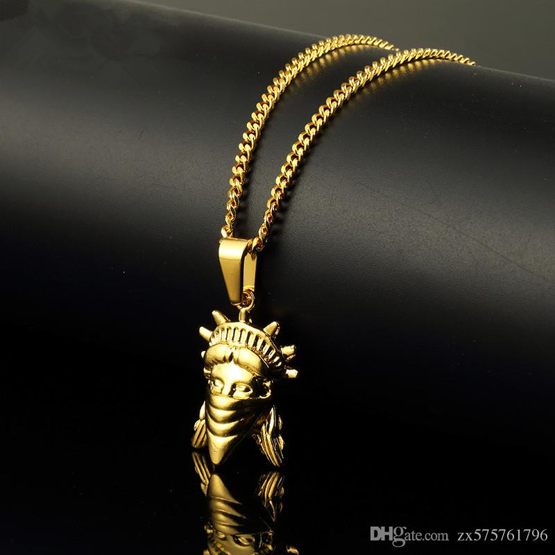Mens Charms Figure Pendant Necklace Personalized Design 18K Gold Plated 60cm Long Chain Rock Micro Hip Hop Fashion Custom Jewelry for Men