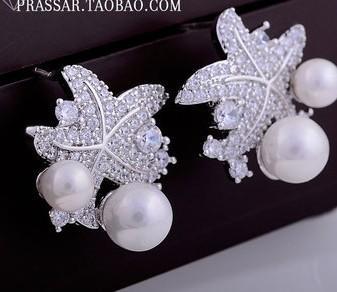алмазный цветок жемчуг 925 серебряные серьги леди (xgspc) райри