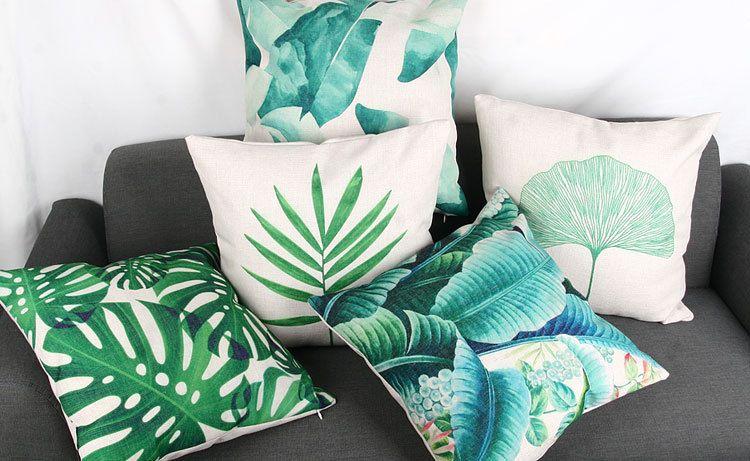 Green Leaf Leaves Cushion Cover Decorative Banana Leaf
