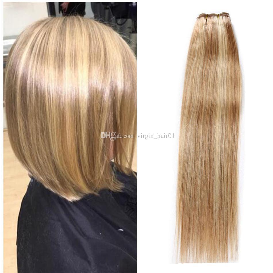Bundle peruviano di colore misto tessuto dritto capelli umani 3 pezzi piano per capelli da sposa # 8 613 Evidenziare capelli umani due toni estensioni di ombre