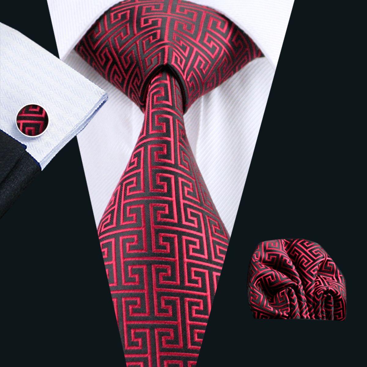 Klassieke Rode Black Tie Set Hanky Manchetknopen Jacquard Geweven Mens Tie Set Bedrijfswerk Formele N-0554