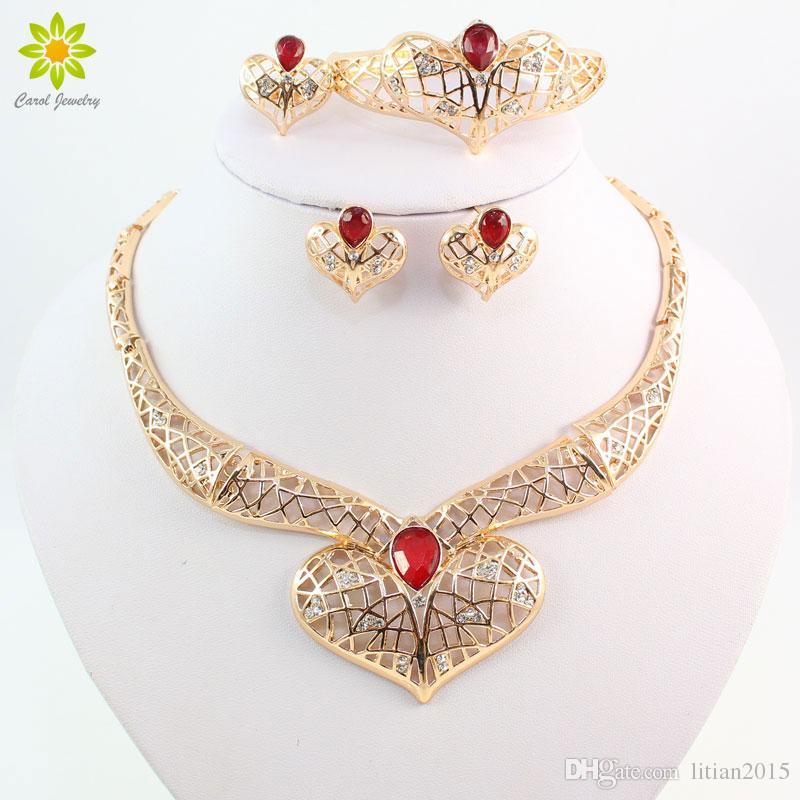 Африканский 18K позолоченный свадебный свадебный костюм ювелирные наборы мода красный/зеленый Циркон бисер Кристалл ожерелье серьги кольцо браслет наборы