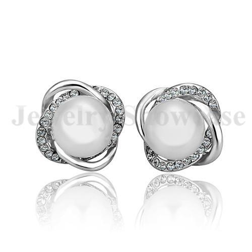 Elegant Wedding Fashion 18K GP Stud Earings CZ Twist Pearl For Pierced Ears 1Pair with Gift Box