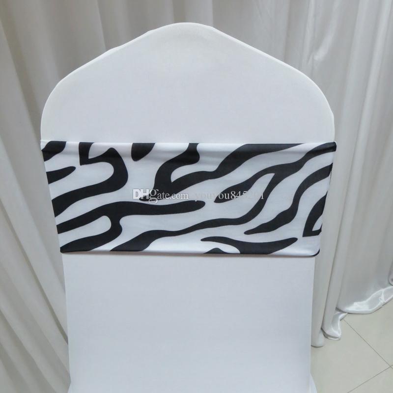 100 шт. белый черный цвет Зебра печати шаблон спандекс стул группа без пряжки для Weding украшения использования