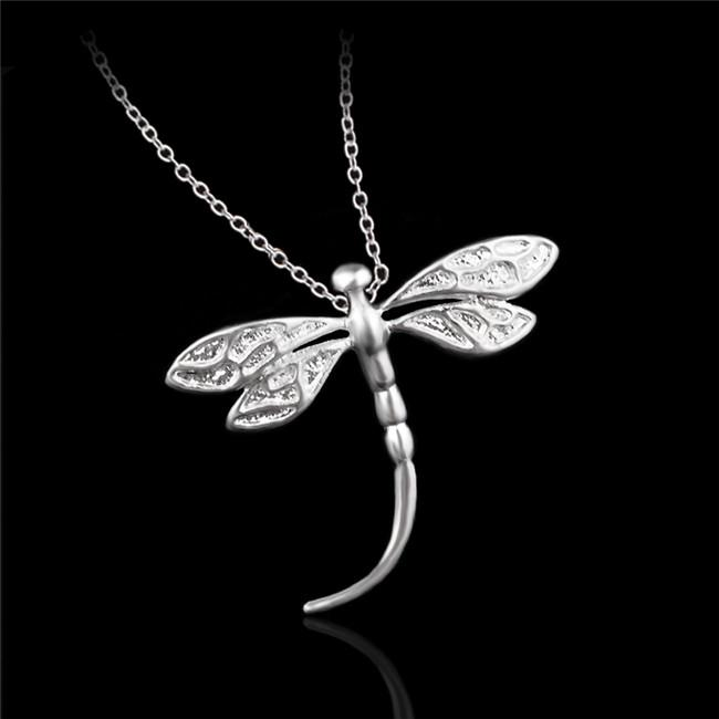 Cute design 925 sterling silver dragonfly pendant necklace fashion party jewelry for women free shipping