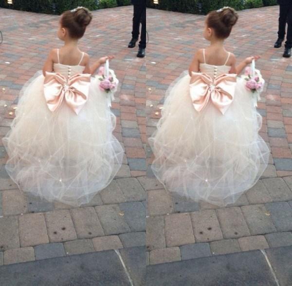 2019 Pageant Dresses For Girls Spaghetti Rhinestone Flower Girl Dresses Big Bow Kids Ball Gowns Wedding Dress Sash Tulle Beading Belt