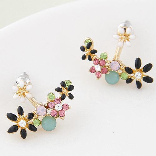 2015 Fashion Korean Gold Kristall Ohrstecker Bijoux Frauen Ohrringe Blume boucle d'oreille Modeschmuck Frauen Zubehör