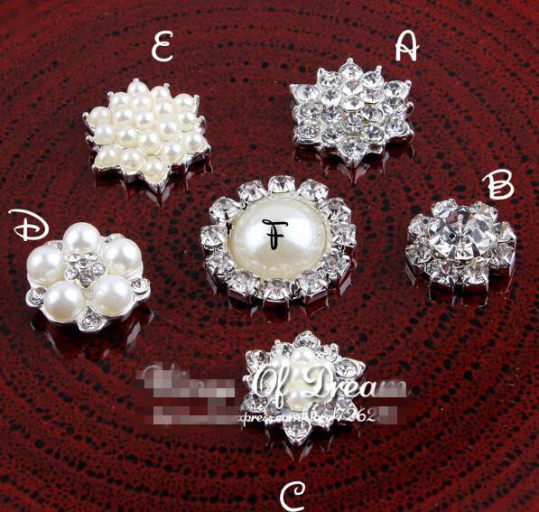 Скидка 5% (60 шт. / Лот) 6 Стилей Горячая распродажа ручной работы металлический горный хрусталь Pearl Button Close Clinkback свадебные кнопки