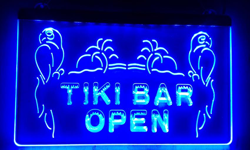 LS017-b OPEN Tiki Bar NEW Displays Pub Neon Light Signs