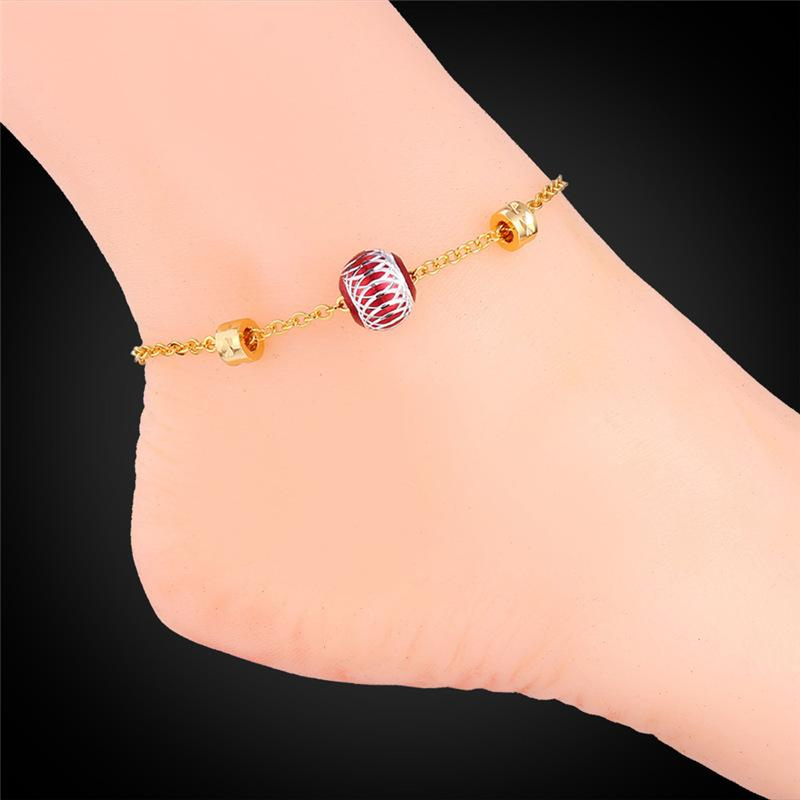 U7 Cute Ball Foot Jewelry Gold Anklet Bracelet For Women Lovers Gift 18K Real Gold/Platinum Plated Foot Bracelets For Leg A928